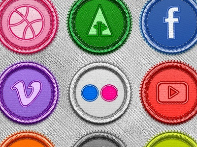Handcrafted Social Badges badges social network download icon pack vector psd photoshop illustrator png handcraft