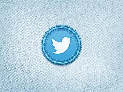 TwitterBird Badge stitched twitter bird logo badge button psd vector set icon twitterbird new social media network tweet