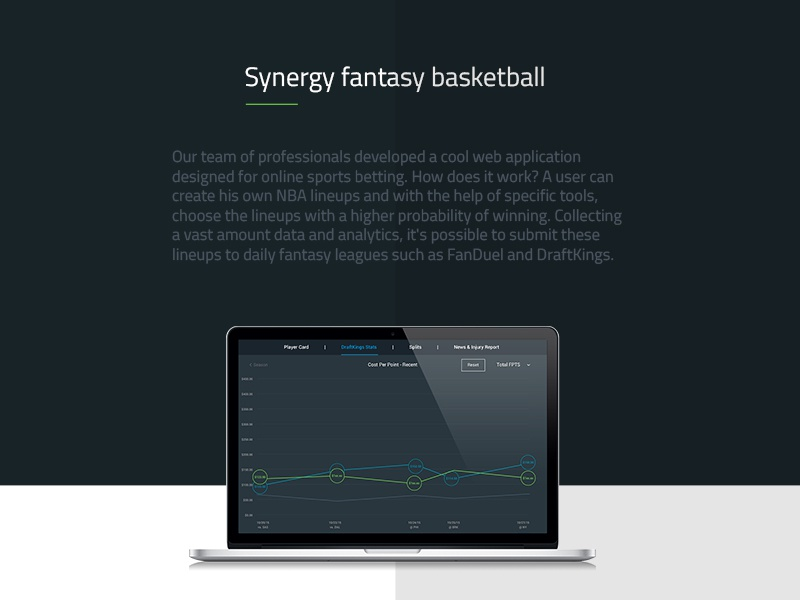 Synergy fantasy basketball interface design web ux ui