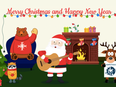 New Year Animation deer snowman animation gift tree toy garland fireplace claus santa year new
