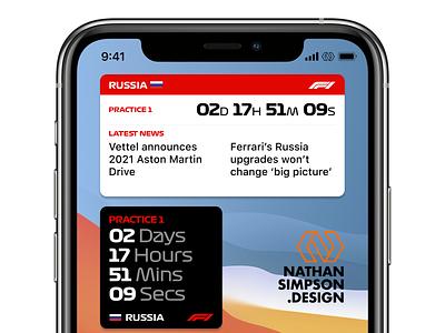 Formula 1 iOS 14 Widget concepts cars apple news calendar countdown motorsport formula 1 racing mobile widgets ios iphone ui