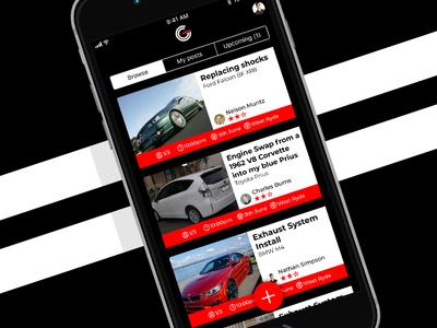Latest Posts Feed - The Garage social network community cars app ios ui