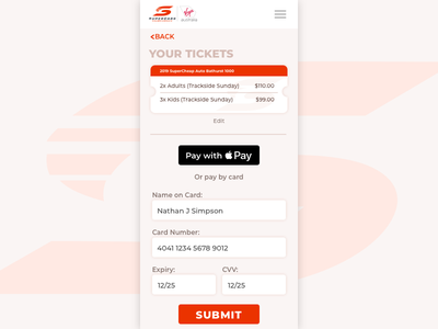 Payment Screen dailyui 002 dailyui iphone mobile payment racing supercars tickets ui