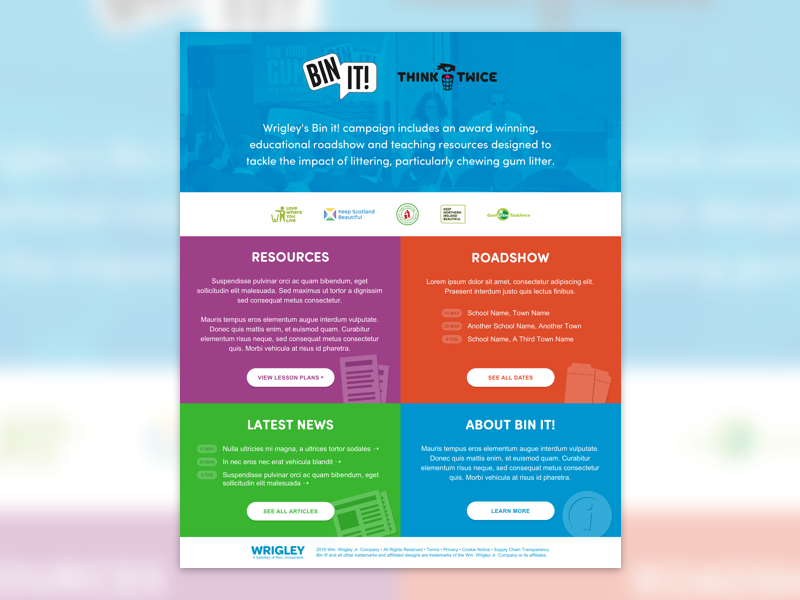 Wrigley's Bin It colourful bright landing page home page education gum wrigley