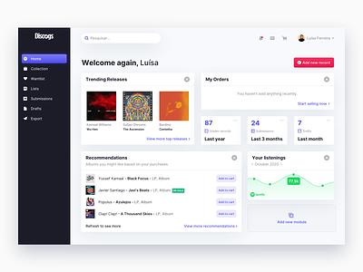 Discogs Modular Dashboard clean flat dailyui web design webdesign ux ui desktop dashboard design dashboard app dashboard ui dashboard