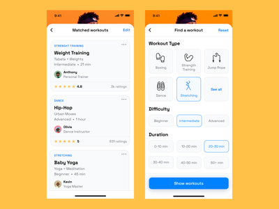 Workout App workout app workout navigation design navigation modals modal cards mobile ios dailyui ux app typography branding icon clean ui design