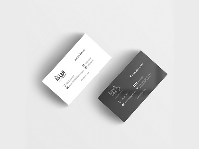Two sided business card illustration graphic minimal black and white business card