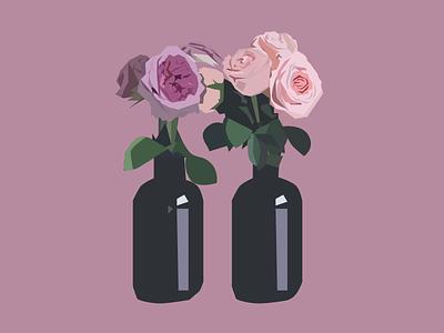 Roses Illustration flat design pink lovely graphic illustration rose roses