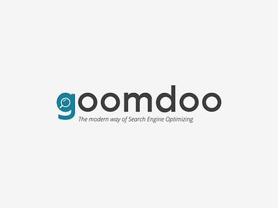 Logo goomdoo grey blue modern flatdesign logo illustration search engine optimizing seo