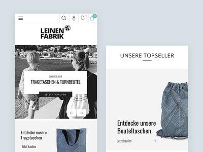 Shopware Theme Leinenfabrik shopwaretheme mobile mobileview shot clean minimal theme design graphicdesign webdesign uxdesign uidesign theme shopware