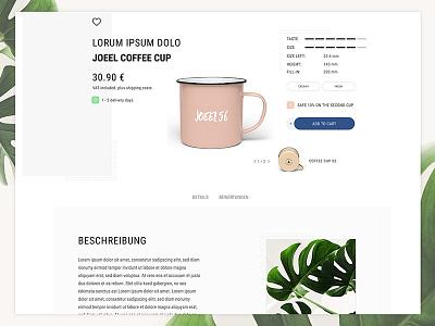 Redesign Detail Page - Coffee Cup graphic design ux flat design ui userinterfacedesign emotionworld theme design shop ecommerce userexperiencedesign theme design graphic clean uxdesign uidesign shopware webdesign illustration minimal