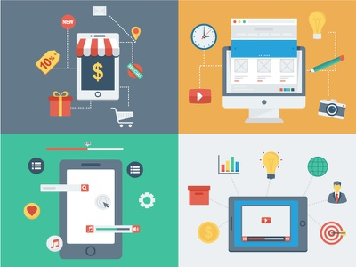 Flat Concept Design application mobile marketing video web desing online shop
