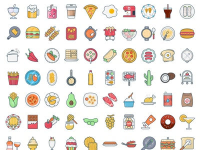 Foods soup icecream honey bakery bbq barbecue coffee flat icons drinks food