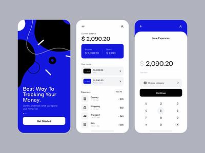 Money Tracking App interface style finance app clean minimal screen profile onboarding tracking tracker money ios mobile app mobile ux ui