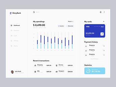 Finance Dashboard Web App payment admin dashboard analytics chart ui statistics spending money business finance style clean minimal template concept app dashboard app web dashboard layout ux