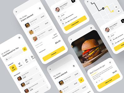 Delivery Food App drink food app ios procreate menu meal restaurant burger items list order details location delivery food design app mobile ux ui