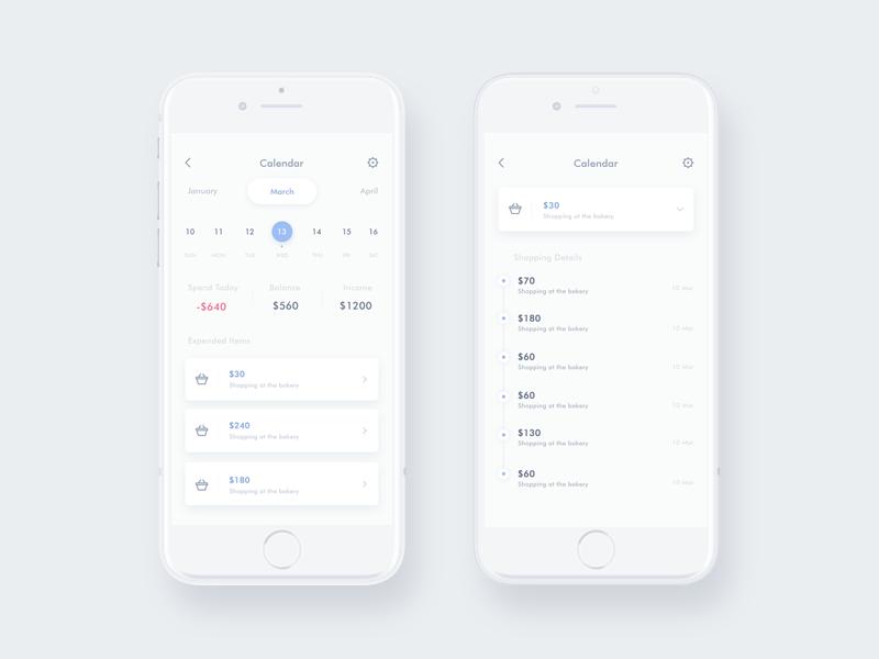Wallet iOS App - Calendar ux ui screen charts statistics wallet minimal clean style app mobile ios
