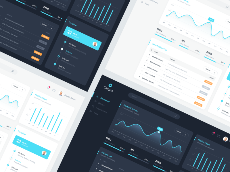Calipso Medical App Dashboards data metric appointment profile timeline chart material minimal medical color theme dark clean table dashboard desctop design app ux ui
