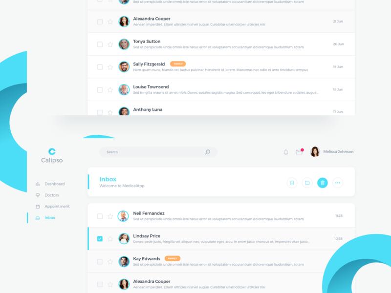 Calipso Medical App Inbox message table saas concept interface page screen layout material minimal elegant bright clean dashboard inbox design desktop app ux ui