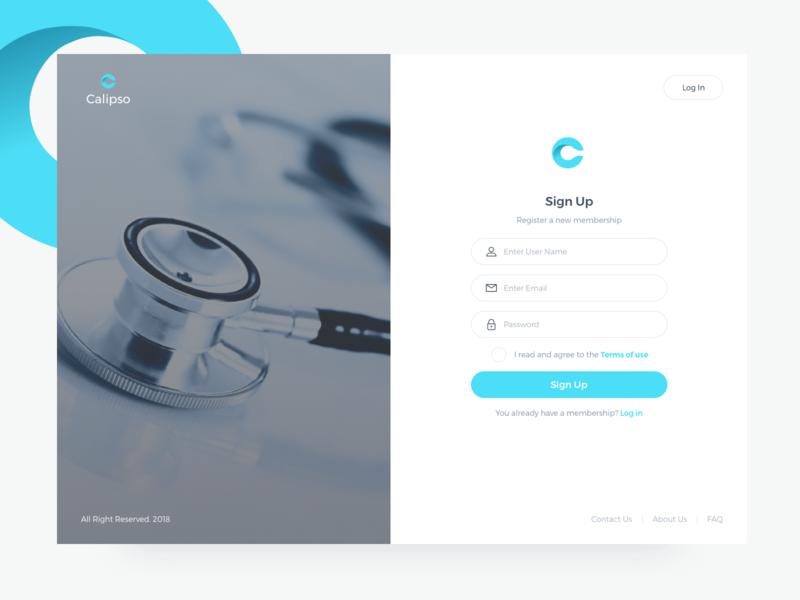 Calipso Medical App Sign Up saas page design input form log in sign up sign in desktop app web ux ui