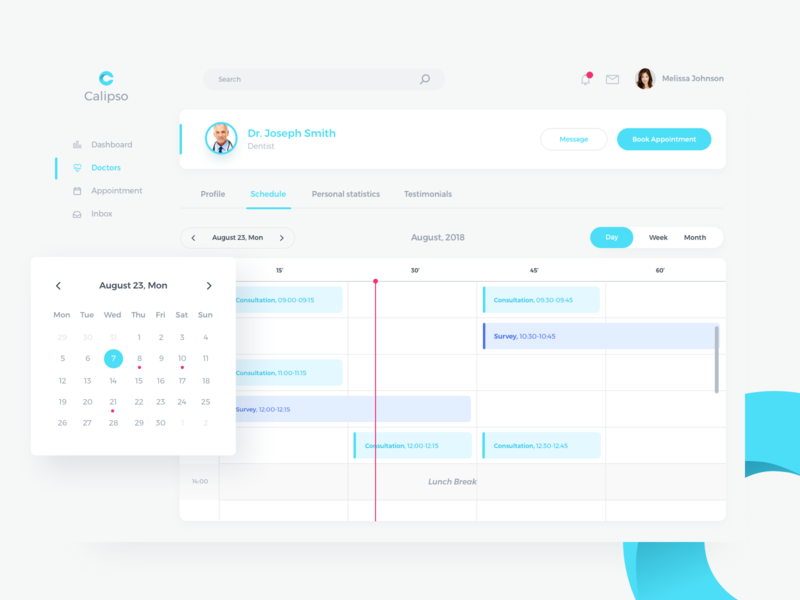 Calipso Medical App Schedule Page layout tabbar booking appointment timeline table design saas doctor profile calendar time clean page schedule dashboard app web uiux ui