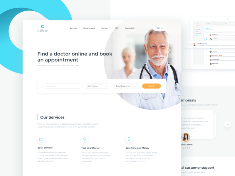 Calipso Medical App Home Page saas website minimal modern template concept doctor clean layout home page design ux app web ui