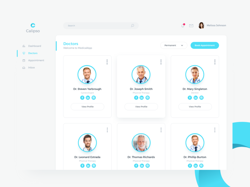 Medical App Doctors Profile user account card style view clean concept layout doctor profile dashboard b2b saas webdesign app ux ui
