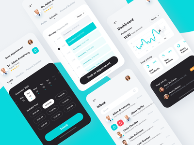 Medical Mobile App chat dashboard calendar shedule chart concept ui  ux design ui clean medical appointment booking ios mobile app