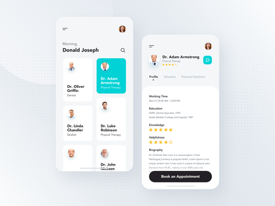 Mobile iOS App minimal elegant clean simple schedule concept interface event manage doctor profile screen dashboard medical design material mobile ios ux ui