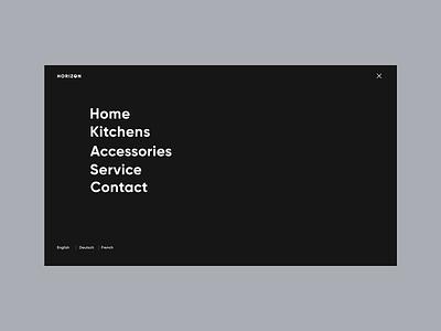 Horizon - Product page. Menu page modern design layout style minimal clean homepage navigation menu product page website ux ui
