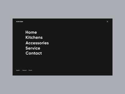 Horizon - Product page. Menu