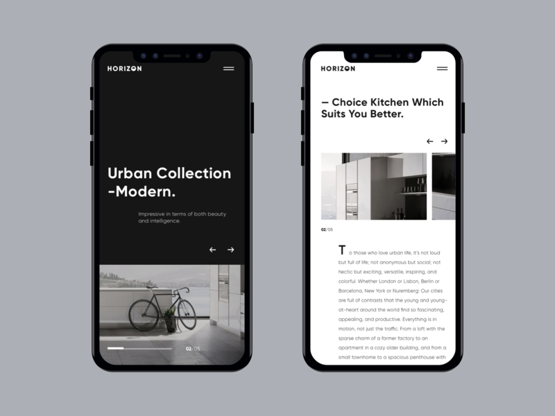 Horizon - Mobile Responsive Design style dark interface home pgae grid clean modern website mobile web ux uiux ui
