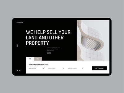 Compass - Website. Home page clean ui desktop visual design concept property modern clean minimal layout ui design website web ux uiux ui