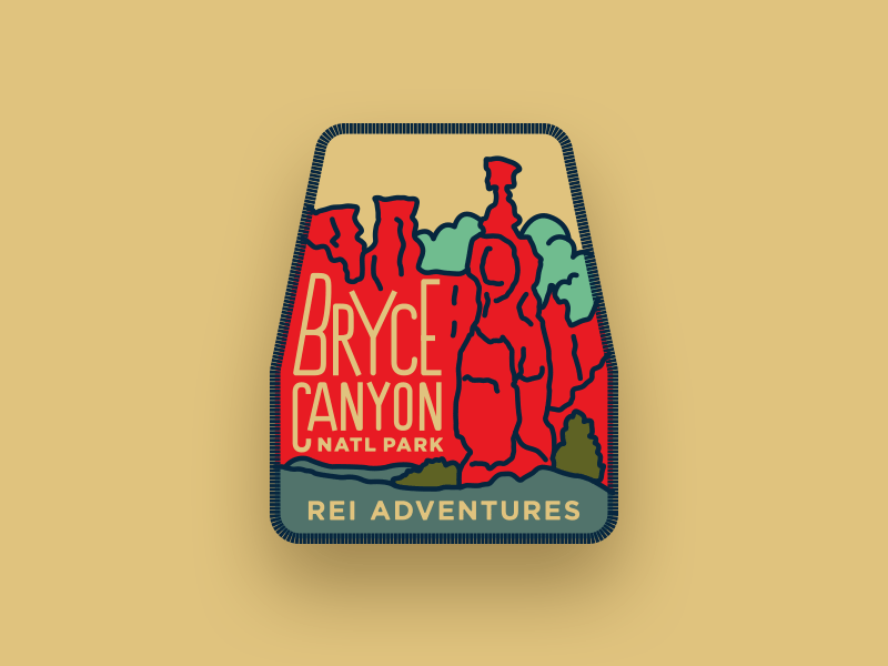 REI Adventures Patch — Bryce Canyon National Park bryce retro rei patch park thor logo illustration design color apparel adventure