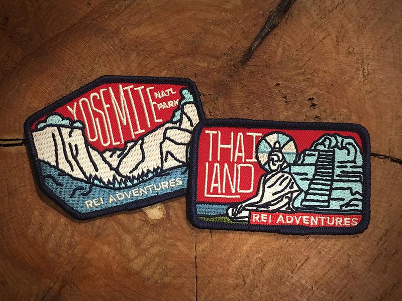 REI Adventures Patch yosemite retro rei patch park logo illustration design color thailand apparel adventure