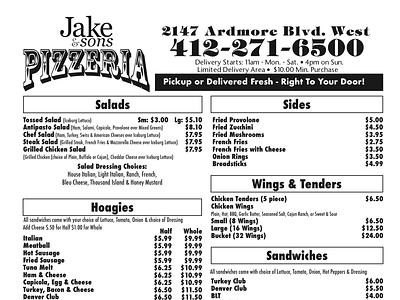 Jake & Sons Pizzeria pittsburgh illustration graphic designer restaurant pizzeria blackandwhite graphic design menu design menu