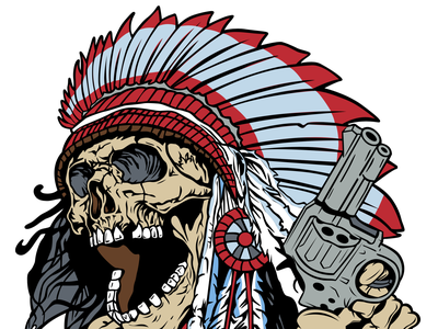 Try Me - Vector Artwork for Patches embroidered patch embroidery vectorart vector illustration skeleton headdress gun revolver native american skull indian