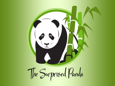 The Surprised Panda - Daily Logo Challenge - Day 3 zen surprised panda bamboo challenge logo daily logo challenge