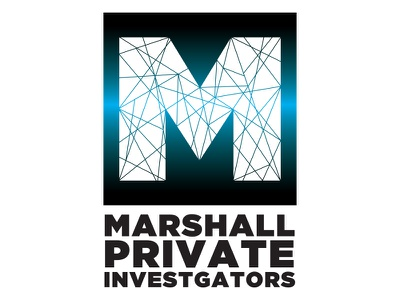 Marshall Private Investigators - Daily Logo Challenge Day 4 stained glass puzzle fractured gradient investigate police private investigator single letter logo