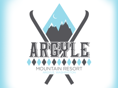 Argyle Mountain Resort - Daily Logo Challenge - Day 8 washington argyle sweater skiing winter cold logo lodge mountain resort ski resort