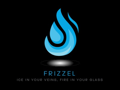 Frizzel Liquor - Day 10 Daily Logo Challenge cold hot drink bar logo liquor cool ice fire flame blue