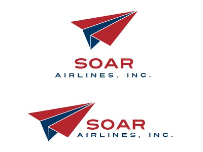 Soar Airlines Logo Design - Daily Logo Challenge travel logo blue white red runway paper airplane airline