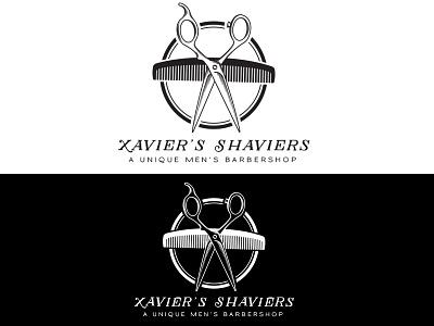 Xavier's Shaviers - Barbershop Logo - Daily Logo Challenge business logo hipster monochrome hairsylist barber barber shop logo white black logo challenge