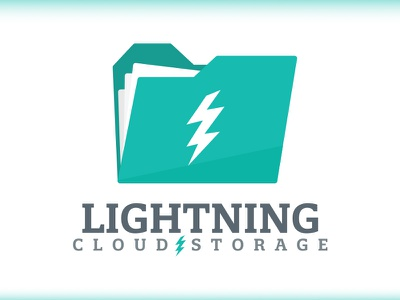 Lightning Cloud Storage - Daily Logo Challenge - Day 14 technology computer storage white teal. gray logo logo design cloud storage cloud computing