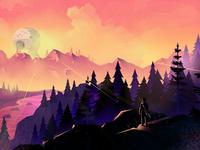 Landscape cartoon trees nature webbanner landing vector background mountains landscape forest illustration