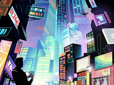 Sci-fi night city neon chinese cityscape webillustration banner illustration digital night city futuristic cyberpunk sci-fi neon city