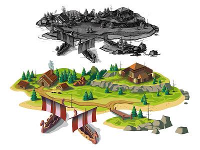 Viking Game Map drawing process vector 2d gamedesign illustrator nature viking map level game