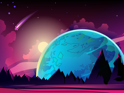 Super Earth spacebackground space design illustration planet cosmos vector landscape background earth