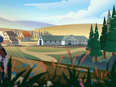 Horse farm game 2d mountains illustration forest vector cartoon landscape background farm horse
