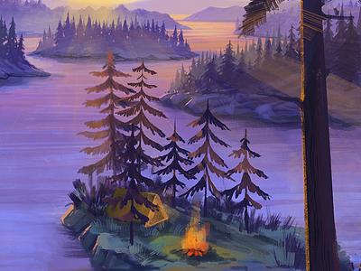 Evening bonfire ipadpro procreate nature bonfire mountains forest camping landscape illustration landscape 2d art concept background illustration